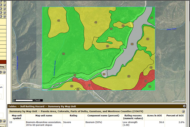 Screen Shot Web Soil Survey Thematic Map
